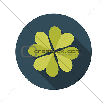 Flat Design Concept Clover Vector Illustration With Long Shadow.
