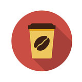 Flat Design Concept Coffee Vector Illustration With Long Shadow.
