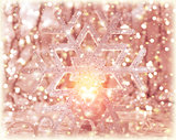 Pink shiny Christmastime decor
