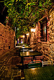 romantic dinner in small Italian restaurant