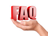 Hand hold FAQ. Frequently Asked Question concept