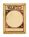 Wanted poster isolated on white