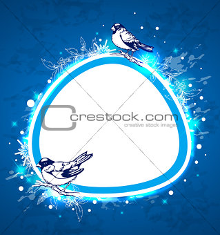 Blue Christmas  background with birds
