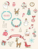 Christmas doodle desing elements