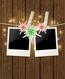 Christmas  background with photo and snowflake