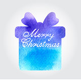 Christmas background with blue gift