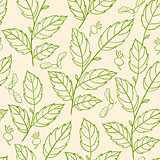 Seamless pattern with green branches