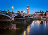 Big Ben, Queen Elizabeth Tower and Westminster Bridge Illuminate