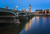 Big Ben, Queen Elizabeth Tower and Westminster Bridge Illuminate