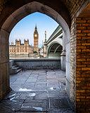 Big Ben, Queen Elizabeth Tower and Westminster Bridge framed in