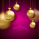 Christmas card with balls background