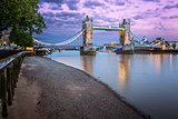 Thames Embankment and Tower Bridge at Sunset, London, United Kin