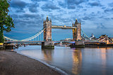 Thames River and Tower Bridge at the Evening, London, United Kin