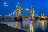 Tower Bridge and Thames River Lit by Moonlight at the Evening, L