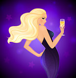Elegance blond woman with champagne