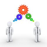 Businessmen are thinking with connected cogwheels