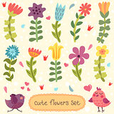 Cute hand drawn flowers set