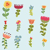 Original doodle hand drawn flowers set