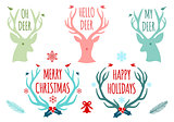 Christmas deer antlers, vector set