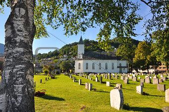 small church on scandinavian cemetary