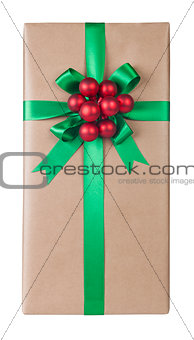 Beautifully giftwrapped present isolated
