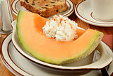 Cantaloupe with raisin toast