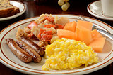 Sausage and eggs with homefries