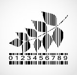 Barcode Autumn Leaf  Image Vector Illustration