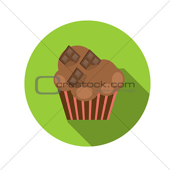 Flat Design Concept Cupcake Vector Illustration With Long Shadow
