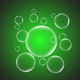 Abstract background with green glossy bubble