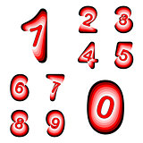 Design numbers set. Colorful waving line textured font