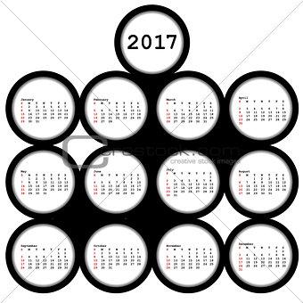 2017 black circles calendar for office
