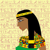 Ancient Egyptian woman profile over a background with Egyptian h