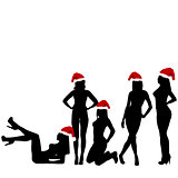 Different silhouettes of young, beautiful and sexy Santa women o