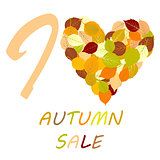 Illustration with leaves and message I love autumn sale
