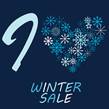 Illustration with snow flake and message I love winter sale