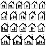 Pictograms of families in houses