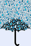 Umbrella and blue rain drops