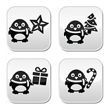 Christmas cute penguin vector buttons set