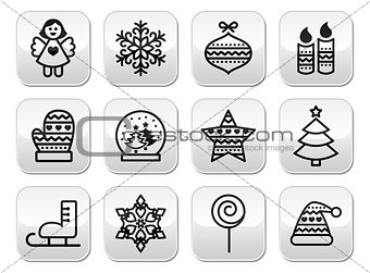 Christmas buttons with stroke - Xmas tree, angel, snowflake