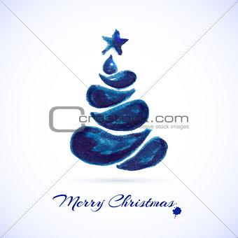 Watercolor Christmas card with christmas tree.
