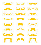 Blond moustache or mustache vector icons set