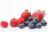 Raspberries, blueberries and strawberries. Delicious fruits.