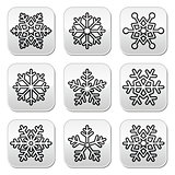 Snowflakes, winter black and white buttons set