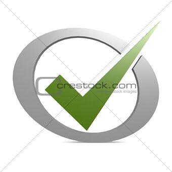 Green tick in circle