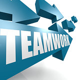 Teamwork arrow in blue