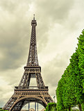 the Eiffel Tower in Paris, France, with an effect of old postcar