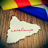 catalunya, catalonia written in catalan in a piece of paper in t