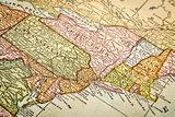 USA east coast on vintage map