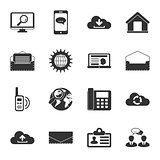 Communication black and white flat icons set